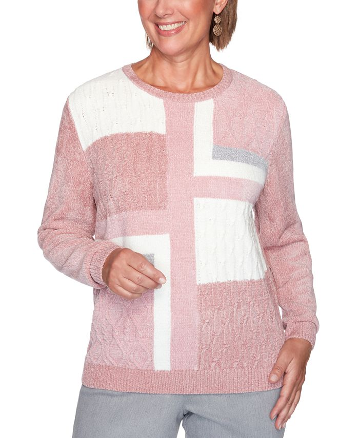 Alfred Dunner - Petite Colorblocked Chenille Sweater