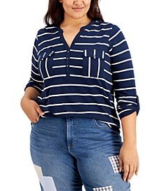 Plus Size Cotton Striped Pocket Top, Created for Macy's