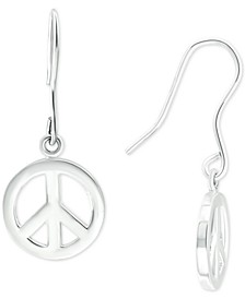Peace Symbol Drop Earrings in Sterling Silver, Created for Macy's