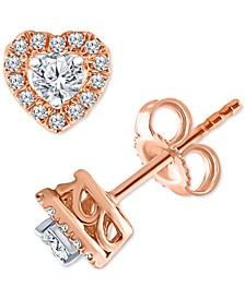Diamond Heart Halo Stud Earrings (1/4 ct. t.w.) in 10k Rose Gold