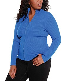 Black Label Women's Plus Size Mock Neck Ribbed Sweater Zip Up