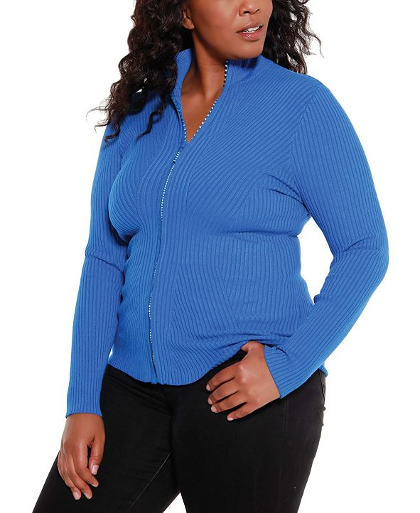 Belldini Black Label Women's Plus Size Mock Neck Ribbed Sweater Zip Up