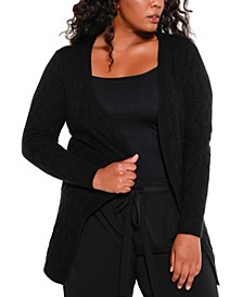 Black Label Women's Plus Size Crosshatch Stitch Open Cardigan