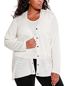Black Label Women's Plus Size Chevron Pattern Cardigan and Tank Twinset