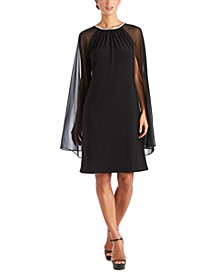 R&M Richards Embellished Cape-Overlay Sheath Dress
