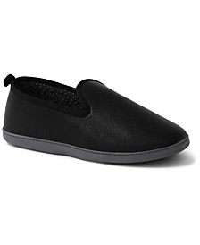 Men's Fleece-lined Faux-Leather Slippers