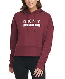 DKNY Sport Cotton Logo Cropped Hoodie