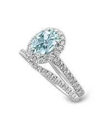 Gemstone Bridal Aquamarine (1 ct. t.w.) & Diamond (1/2 ct. t.w.) Bridal Set in 14k White Gold