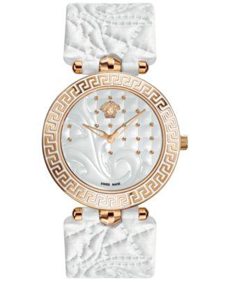 Versace Watch, Women's Swiss Vanitas White Calfskin Leather Strap 40mm VK701 0013