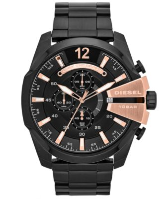 Men's Chronograph Mega Chief Black Ion-Plated Stainless Steel Bracelet Watch 59x51mm DZ4309