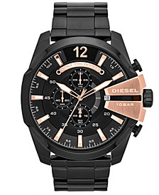 Diesel Men's Chronograph Mega Chief Black Ion-Plated Stainless Steel Bracelet Watch 59x51mm DZ4309