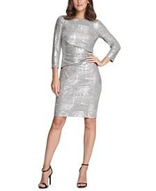 3/4-Sleeve Metallic Bodycon Dress