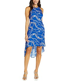 Printed High-Low Fit & Flare Dress