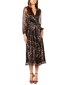 Leopard-Print Pleated Chiffon Dress