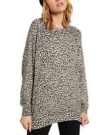 Juniors Over N Out Animal-Print Sweater