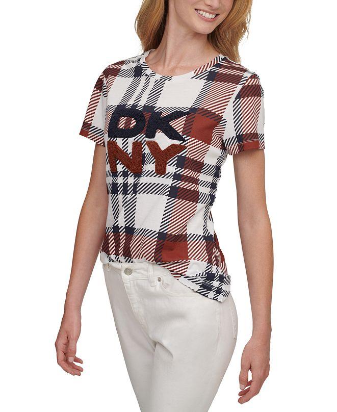 DKNY Plaid Textured Logo Crewneck Top