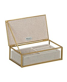 Mele Co. Jess Glass Jewelry Box with Pink Floral Mirrored Lid