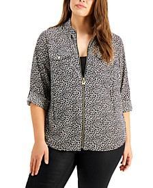 Plus Size Cheetah-Print Zip-Front Top