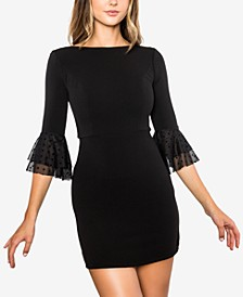 Juniors' Bell-Sleeve Scuba Bodycon Dress