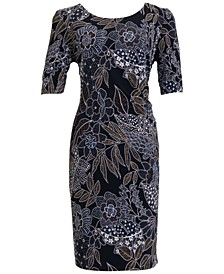 Plus Size Leaf-Print Sheath Dress