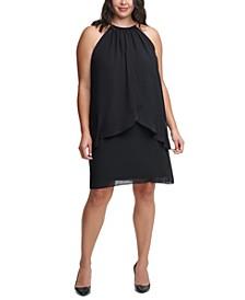 Plus Size Halter Chiffon Sheath Dress