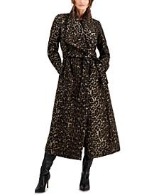 Leopard-Print Maxi Wrap Coat