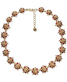 "Gold-Tone Crystal Poinsettia Collar Necklace, 17"" + 2"" extender, Created for Macy's"
