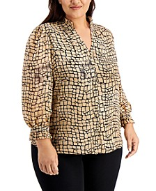 Plus Size Printed Button-Front Top