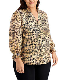 Calvin Klein Plus Size Printed Button-Front Top