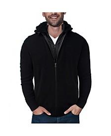 Men's Full-Zip Sweater Jacket with Fluffy Fleece Lined Hood