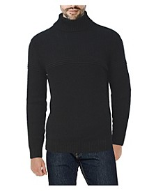 Men's Ribbed Pattern Turtleneck Sweater