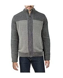 Men's Color Blocked Full-Zip High Neck Sweater Jacket