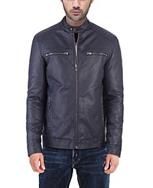 Men's Quilted Faux-Leather Jacket