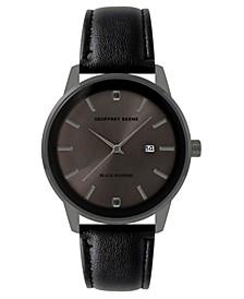 Men's Black Faux Leather Strap Watch, 40 mm