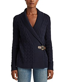 Petite Buckled Cotton Sweater
