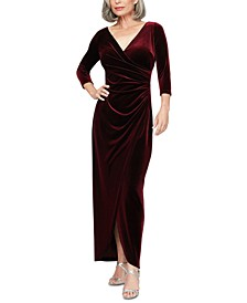 Petite Velvet Surplice Dress With Tulip Overlay