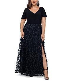 XSCAPE Plus Size 3D Flower A-Line Gown