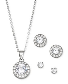 Cubic Zirconia 3-Pc. Set Pendant Necklace & Stud Earrings in Sterling Silver, Created for Macy's