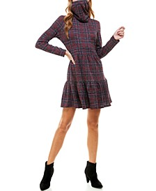 Juniors' Plaid Tiered Dress & Face Mask Scarf