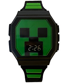 Kid's Minecraft Digital Black & Green Silicone Strap Watch 36x38mm