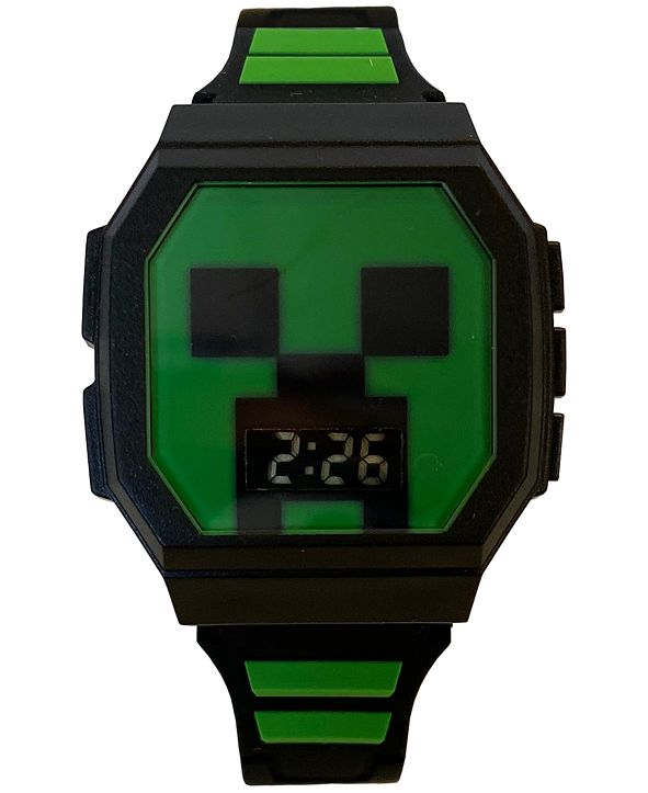 Accutime Kid's Minecraft Digital Black & Green Silicone Strap Watch 36x38mm