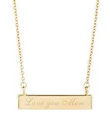 14K Gold Plated Love You Mom Bar Necklace