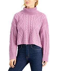 Juniors' Cowlneck Cable-Knit Sweater