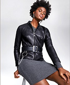 Petite Belted Leather Jacket, Created for Macy's