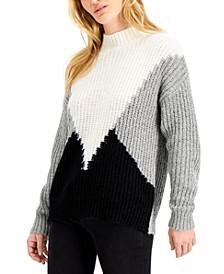 Juniors' Colorblocked Mock Neck Sweater