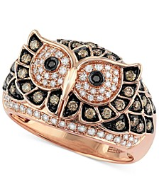 Confetti by EFFY® White and Brown Diamond Owl Ring (3/4 ct. t.w.) in 14k Rose Gold