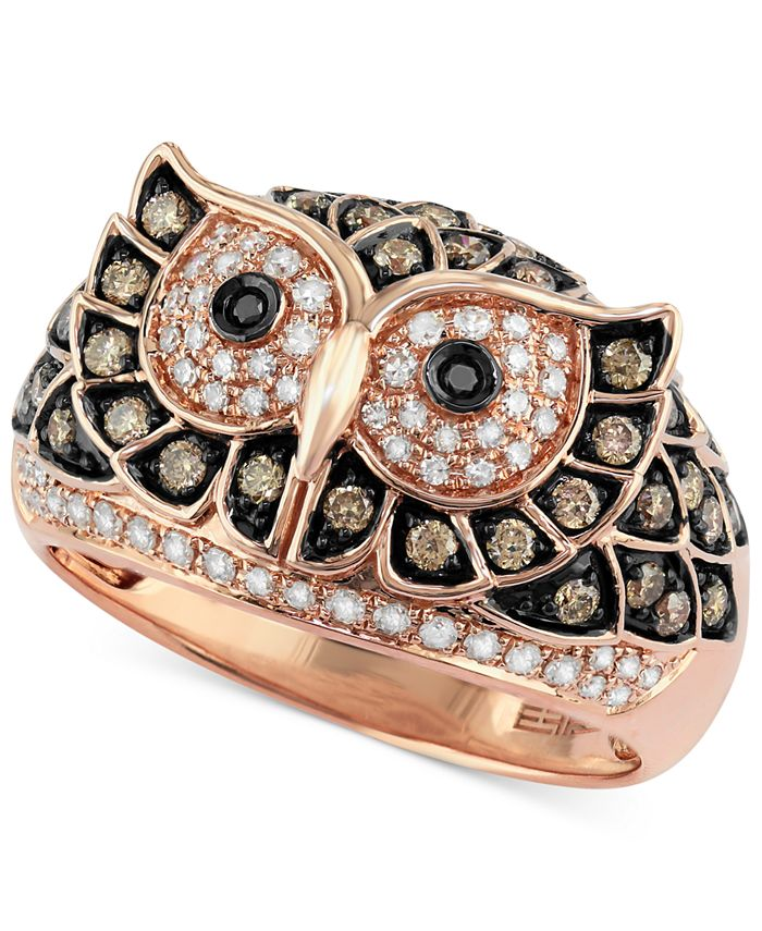 EFFY Collection - White and Brown Diamond Owl Ring (3/4 ct. t.w.) in 14k Rose Gold