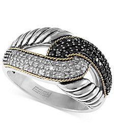 Balissima by EFFY Black and White Diamond Ring (1/3 ct. t.w) in Sterling Silver and 18k Gold
