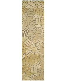 """Palm Leaf MSR4548C Gold 2'3"""" x 8' Runner Rug"""