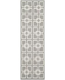 """Square Dance MSR1151C Gray 2'3"""" x 7' Runner Rug"""